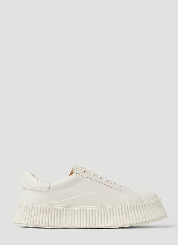Jil Sander Ribbed-Sole Leather Sneakers 1