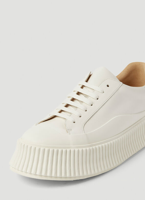 Jil Sander Ribbed-Sole Leather Sneakers 5