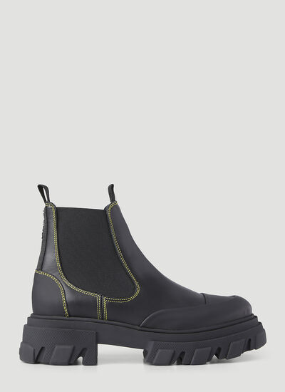 GANNI Leather Chelsea Ankle Boots