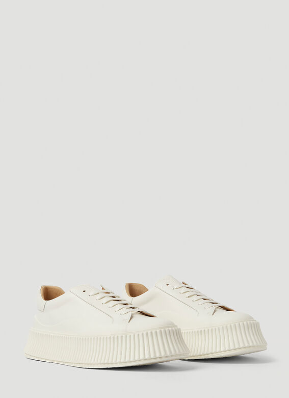 Jil Sander Ribbed-Sole Leather Sneakers 2