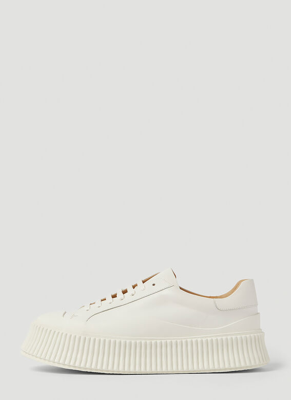 Jil Sander Ribbed-Sole Leather Sneakers 3